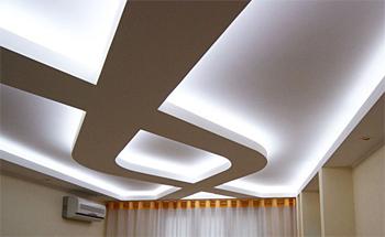 Оформление потолка с использыванием севетодиодной ленты